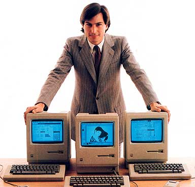 Steve Jobs, 1984, with the Apple Macintosh